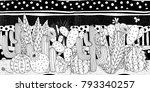 black and white doodle cactus... | Shutterstock .eps vector #793340257