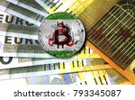bitcoin with a flag on money... | Shutterstock . vector #793345087