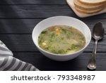 bowl of chicken soup. chicken...