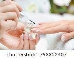 nail polish applying at... | Shutterstock . vector #793352407