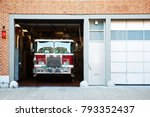 fire truck in fire station. | Shutterstock . vector #793352437