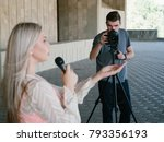 Small photo of student tv reporter. youth crew filming news story. journalism television broadcast telecommunication press concept