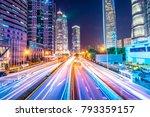 traffic street in shanghai at... | Shutterstock . vector #793359157