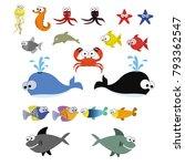 aquatic animals fish   Shutterstock .eps vector #793362547