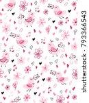 vector seamless valentine's day ... | Shutterstock .eps vector #793366543