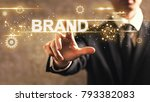 brand text with businessman on... | Shutterstock . vector #793382083