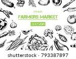 vegetables top view frame.... | Shutterstock .eps vector #793387897