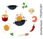 Vector Flat Asian Wok Symbols...