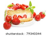 fruit cake with strawberries and kiwi fruit isolated on white - stock photo