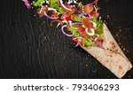 close up of kebab sandwich with ... | Shutterstock . vector #793406293