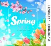 realistic 3d spring sale script ... | Shutterstock .eps vector #793408357
