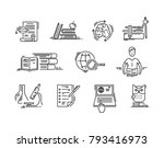 line icons education science... | Shutterstock .eps vector #793416973