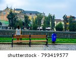 the girl admires the city. back ... | Shutterstock . vector #793419577