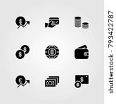 money vector icons set. dollar... | Shutterstock .eps vector #793422787