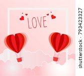 illustration of red heart... | Shutterstock .eps vector #793423327