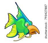 fancy green fish with bird beak ...   Shutterstock .eps vector #793427887