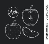 set of hand drawn apple with...   Shutterstock .eps vector #793433923