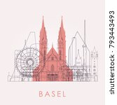 outline basel skyline with... | Shutterstock .eps vector #793443493