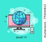 hybrid or smart tv displaying... | Shutterstock .eps vector #793444813