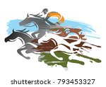 Stock vector horse racing expressive colorful illustration of horse racing vector available 793453327