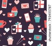 seamless pattern of valentine... | Shutterstock .eps vector #793455787