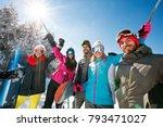 group of smiling skier   s... | Shutterstock . vector #793471027