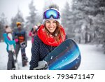 young female snowboarder on... | Shutterstock . vector #793471147