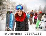 sporty female holds snowboard... | Shutterstock . vector #793471153
