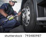 semi truck wheel maintenance.... | Shutterstock . vector #793480987