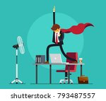 happy business man is standing... | Shutterstock .eps vector #793487557