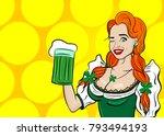wink cute fashion girl. happy... | Shutterstock .eps vector #793494193