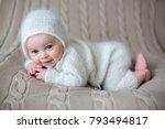 beatiful baby boy in white... | Shutterstock . vector #793494817