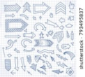 vector hand drawn arrows icons... | Shutterstock .eps vector #793495837