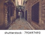 view narrow street in old town... | Shutterstock . vector #793497493