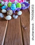 painted easter eggs with... | Shutterstock . vector #793508353