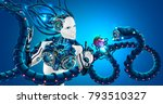 beautiful robot woman with... | Shutterstock .eps vector #793510327