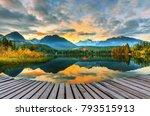 mountain lake strbske pleso ... | Shutterstock . vector #793515913