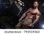 sexy strong bodybuilder... | Shutterstock . vector #793519363