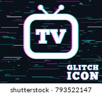 glitch effect. retro tv sign... | Shutterstock .eps vector #793522147