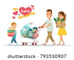 flat happy parents and child... | Shutterstock .eps vector #793530907