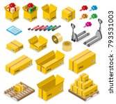 flat isometric cardboard boxes... | Shutterstock .eps vector #793531003