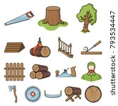 sawmill and timber cartoon...   Shutterstock .eps vector #793534447