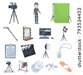 making a movie cartoon icons in ... | Shutterstock .eps vector #793534453