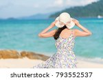 back view of young woman... | Shutterstock . vector #793552537