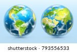 planet earth. 3d realistic... | Shutterstock .eps vector #793556533