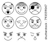 line faces character collection ... | Shutterstock .eps vector #793559047