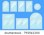 set of windows with different... | Shutterstock .eps vector #793561243