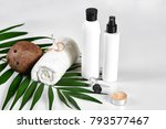 coconut with jars of coconut... | Shutterstock . vector #793577467