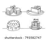 set continuous line drawing of... | Shutterstock .eps vector #793582747