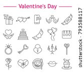 valentine's day line icons set... | Shutterstock .eps vector #793588117